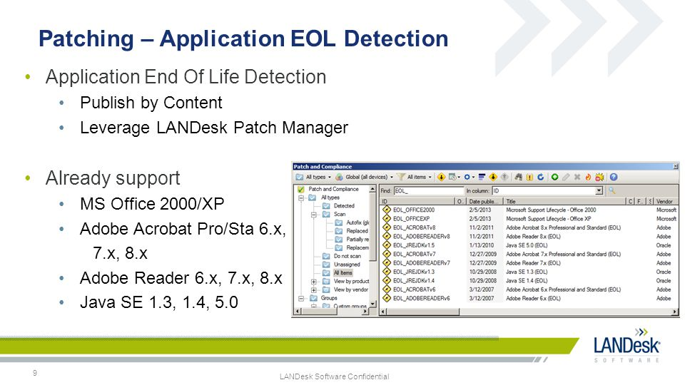 Patching – Application EOL Detection