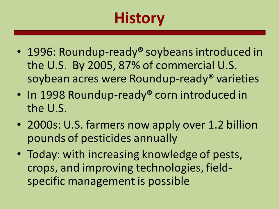 History 1996: Roundup-ready® soybeans introduced in the U.S. By 2005, 87% of commercial U.S. soybean acres were Roundup-ready® varieties.