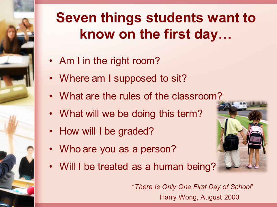 Seven things students want to know on the first day…