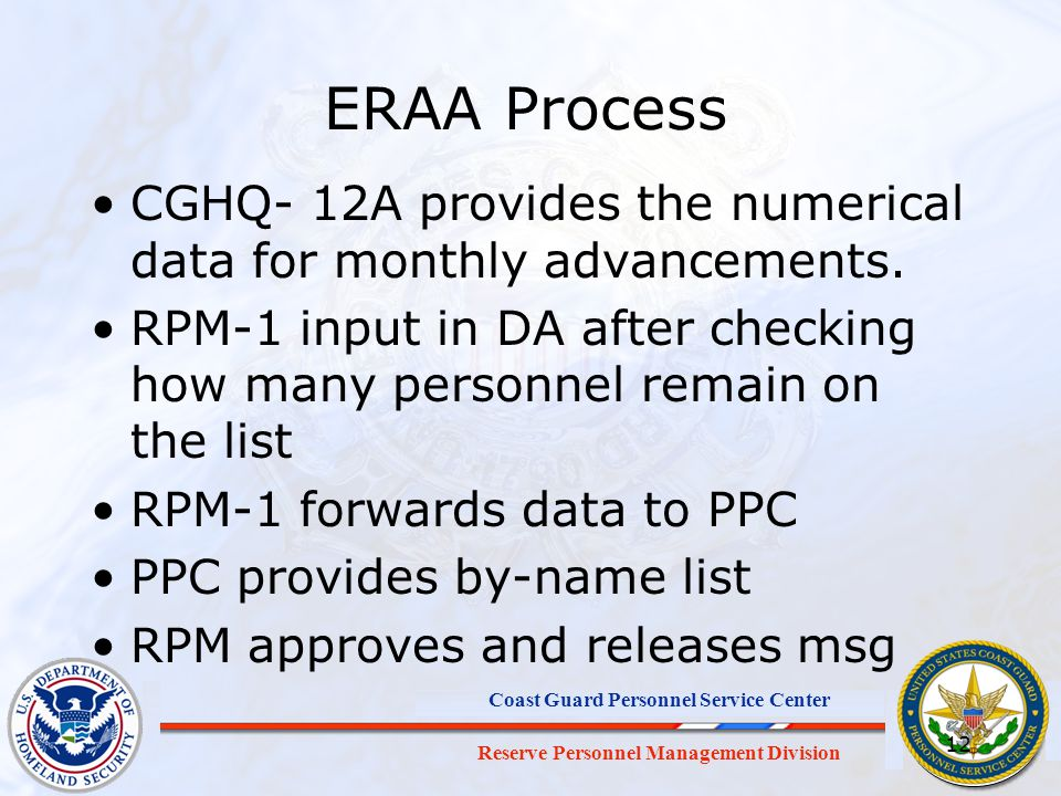 ERAA Process CGHQ- 12A provides the numerical data for monthly advancements. RPM-1 input in DA after checking how many personnel remain on the list.