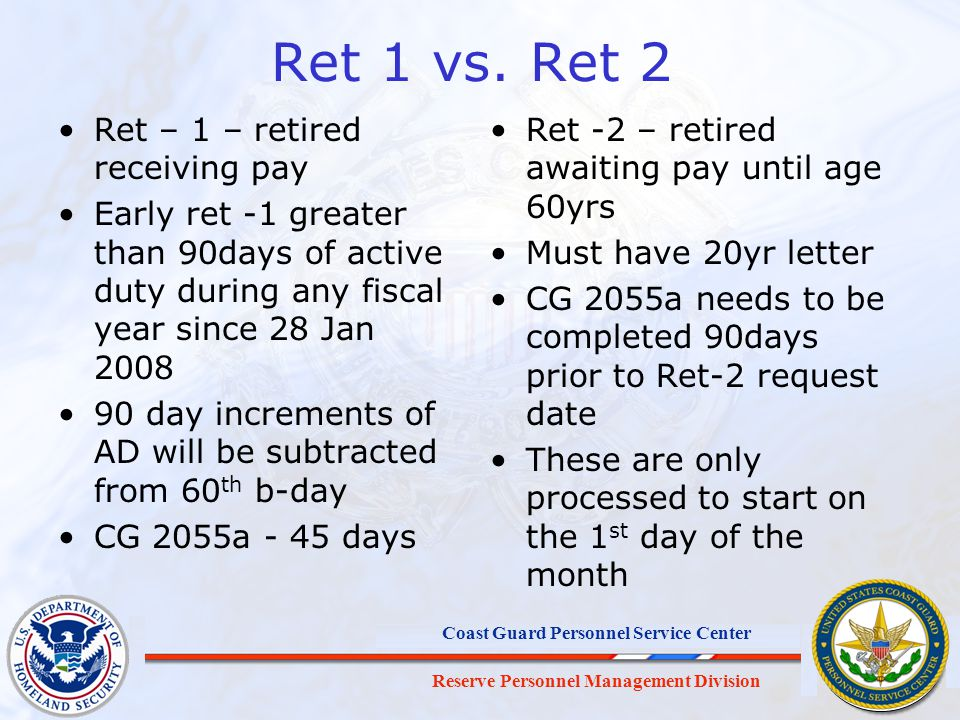 Ret 1 vs. Ret 2 Ret – 1 – retired receiving pay