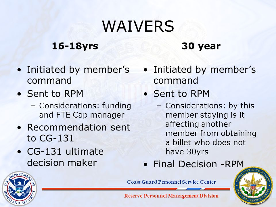 WAIVERS 16-18yrs 30 year Initiated by member's command Sent to RPM