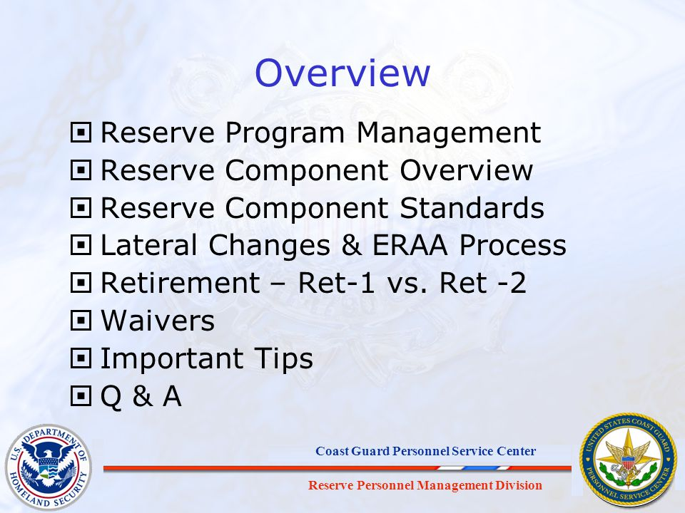 Overview Reserve Program Management Reserve Component Overview