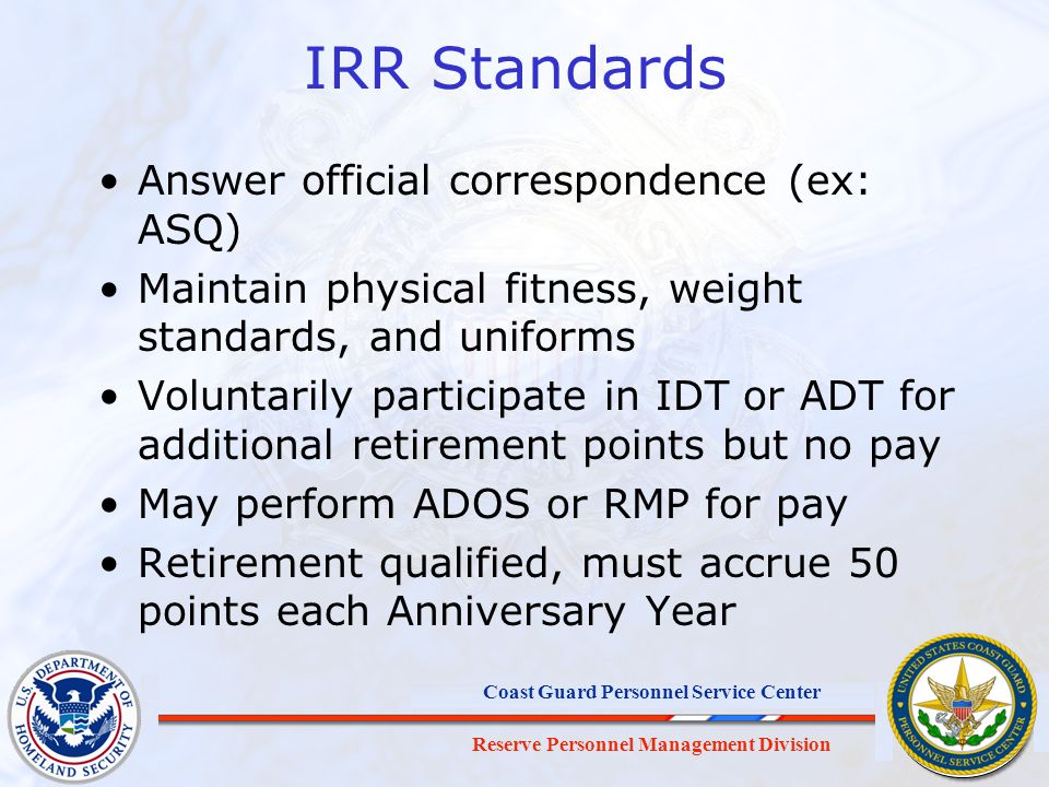 IRR Standards Answer official correspondence (ex: ASQ)