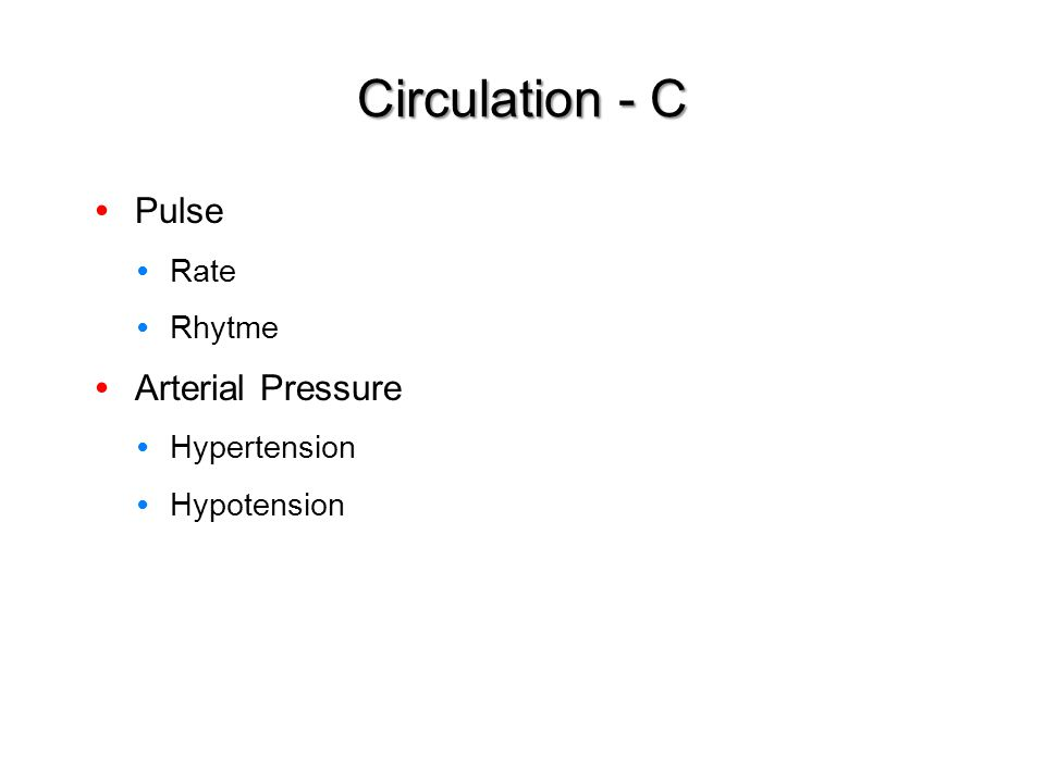 Circulation - C Pulse Arterial Pressure Rate Rhytme Hypertension