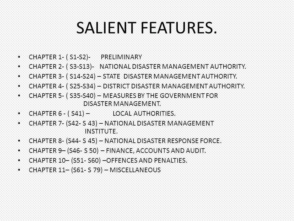 SALIENT FEATURES. CHAPTER 1- ( S1-S2)- PRELIMINARY