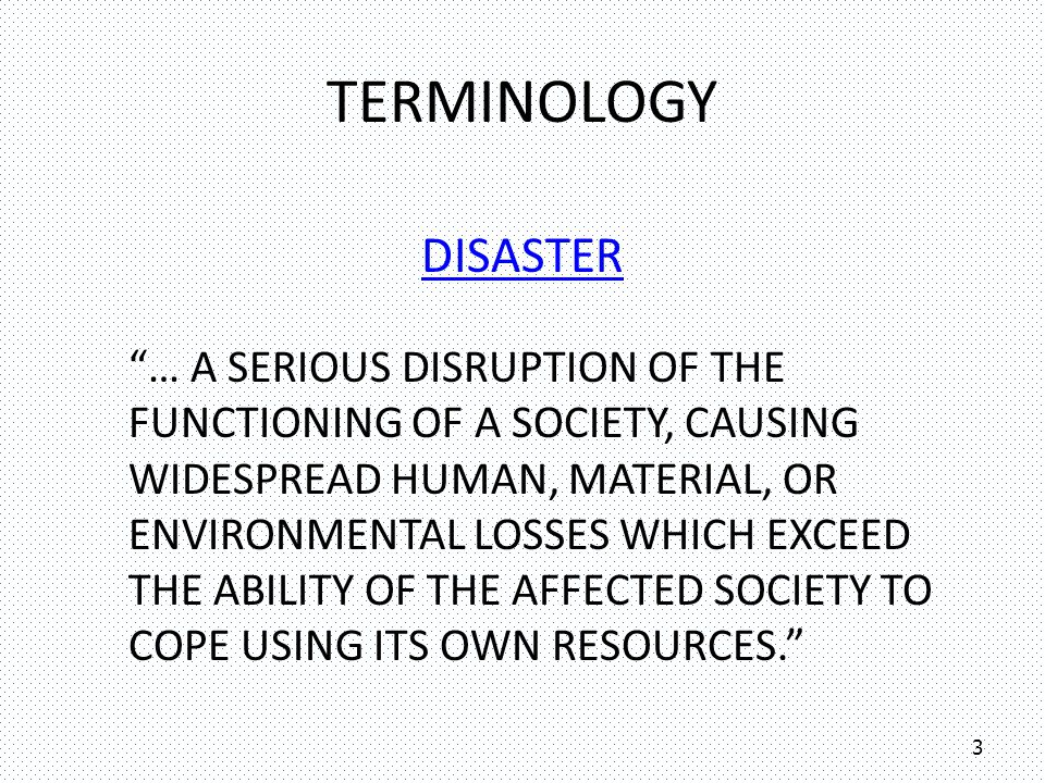 Terminology DISASTER.