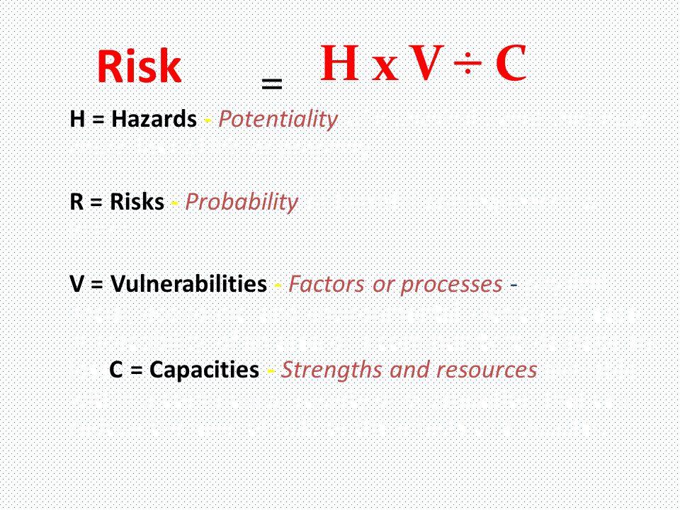Risk H x V ÷ C. =