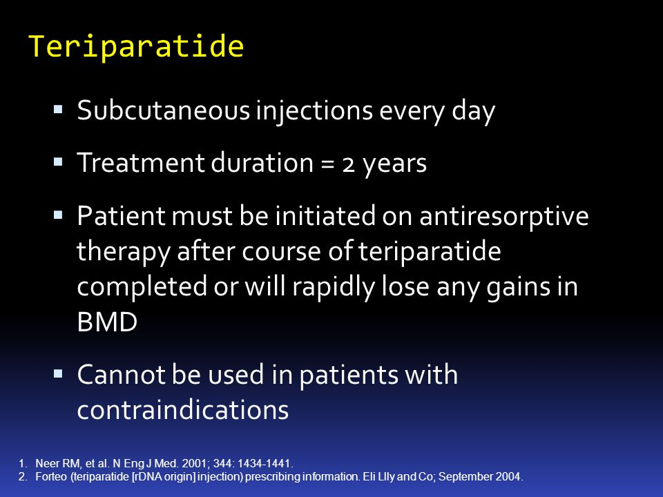 Teriparatide Subcutaneous injections every day