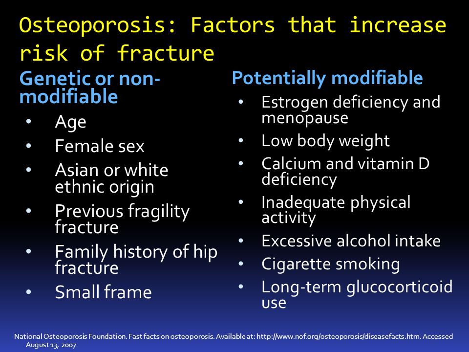 Osteoporosis: Factors that increase risk of fracture
