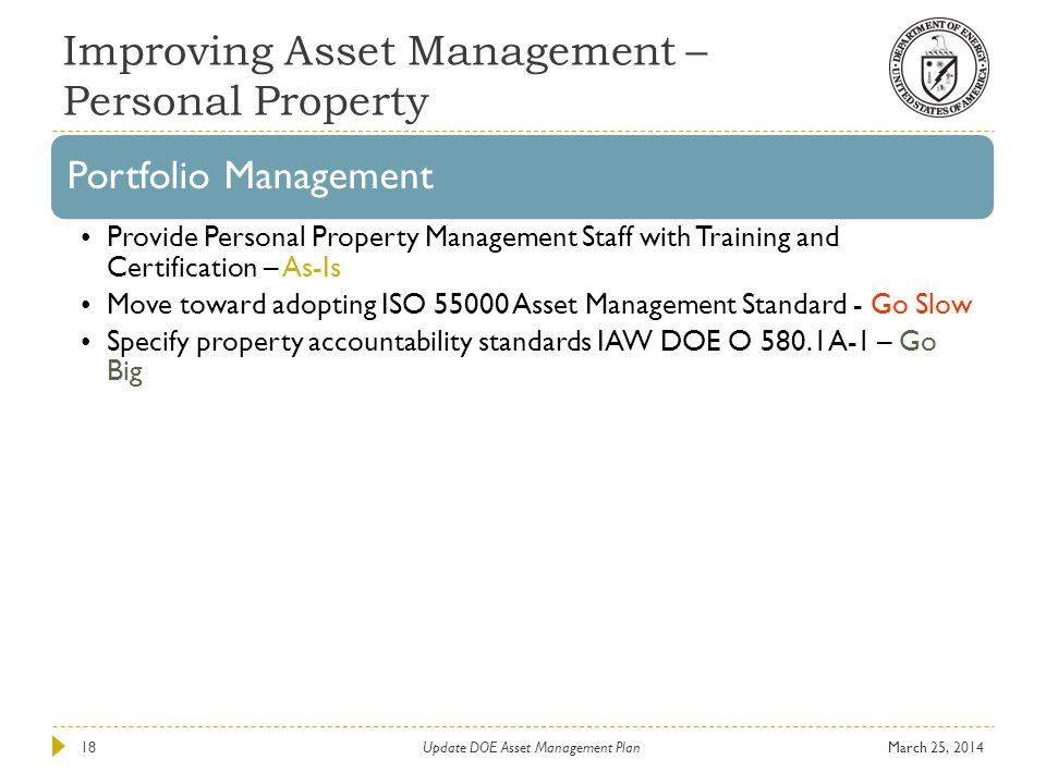 Improving Asset Management – Personal Property