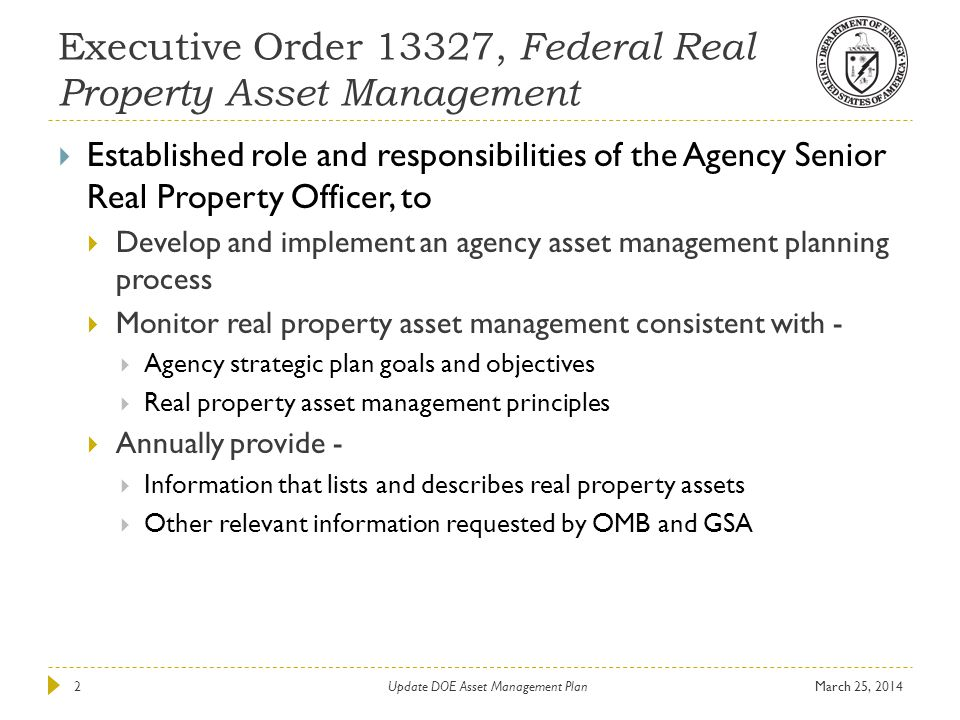 Executive Order 13327, Federal Real Property Asset Management