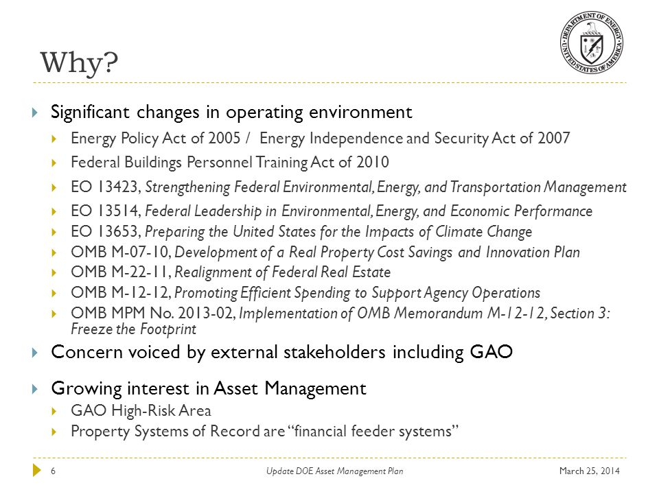 Update DOE Asset Management Plan