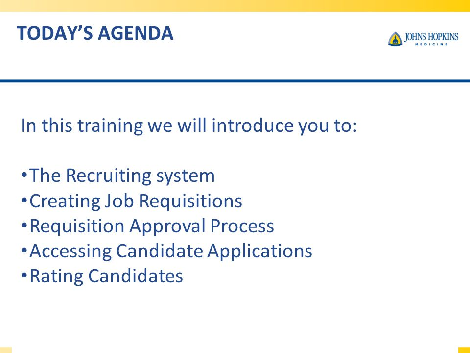 In this training we will introduce you to: The Recruiting system