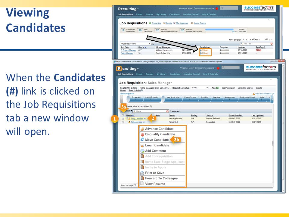 Viewing Candidates When the Candidates (#) link is clicked on the Job Requisitions tab a new window will open.
