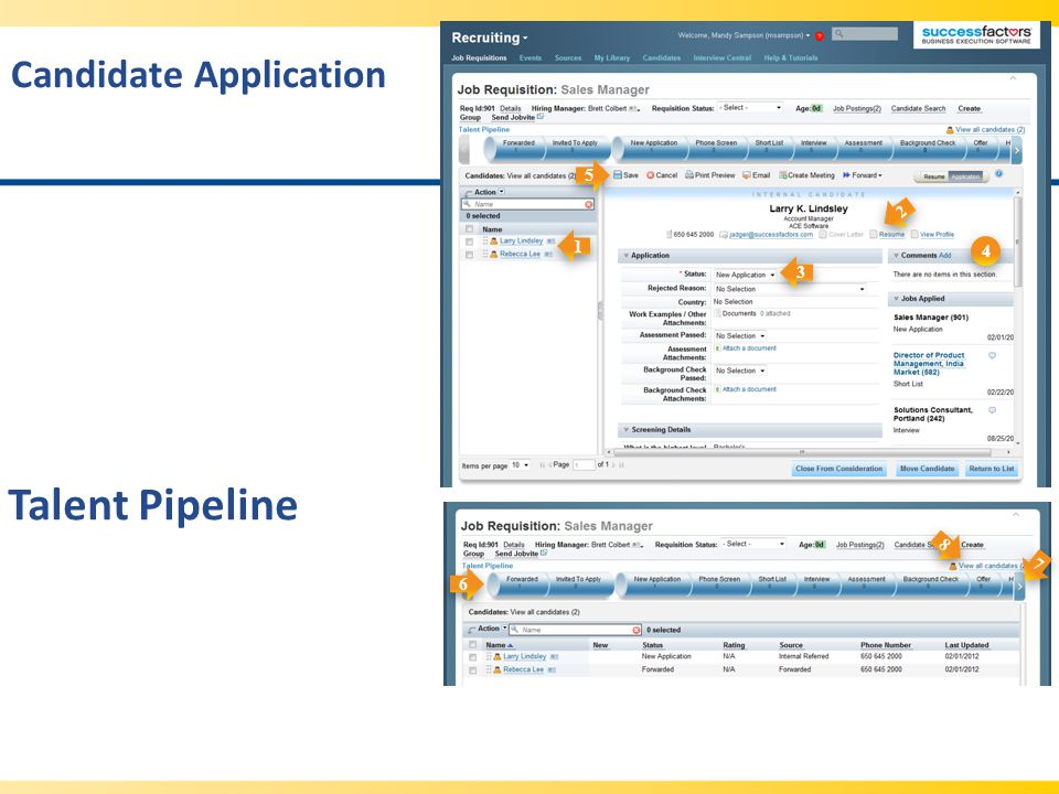 Talent Pipeline Candidate Application 5 2 1 4 3