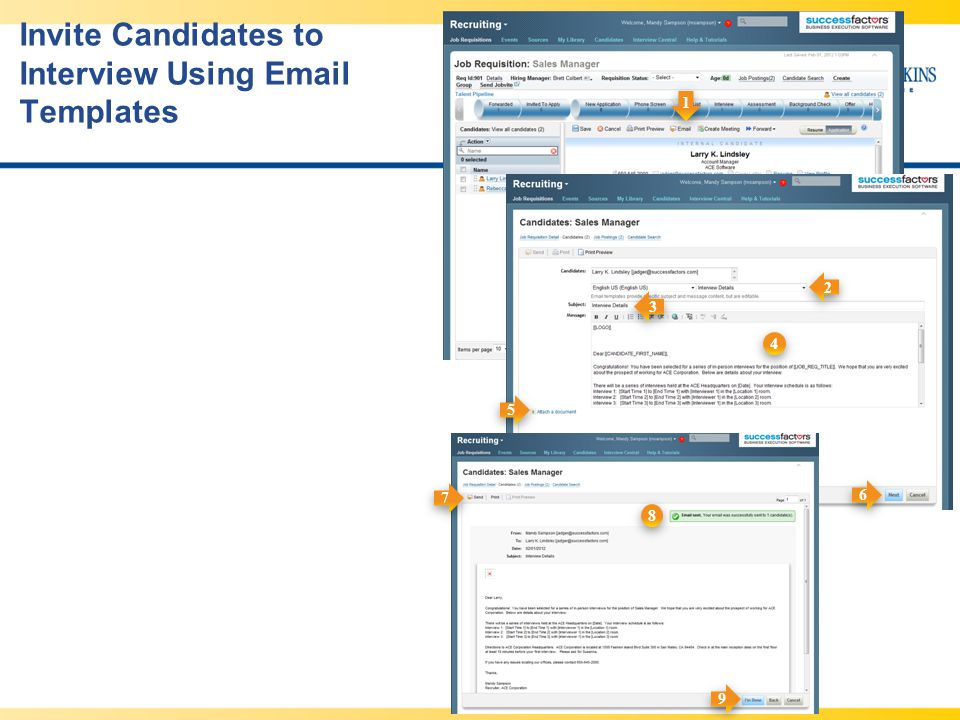 Invite Candidates to Interview Using Email Templates