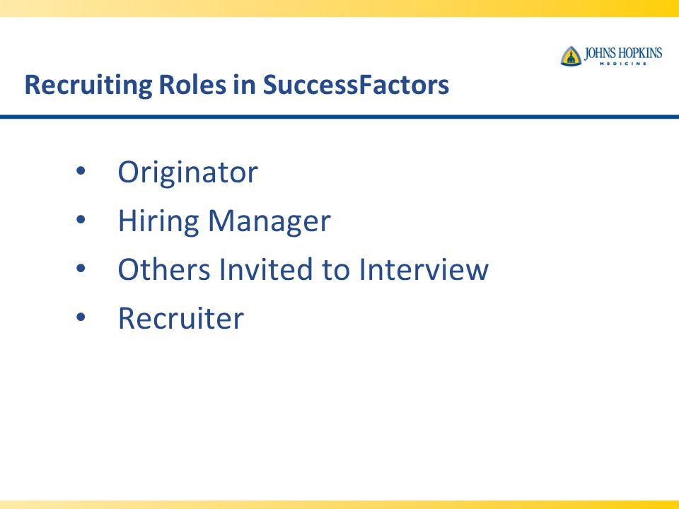 Recruiting Roles in SuccessFactors
