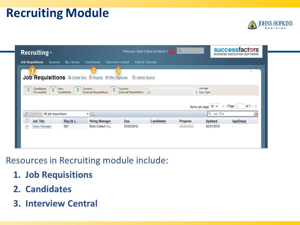 Recruiting Module Resources in Recruiting module include: