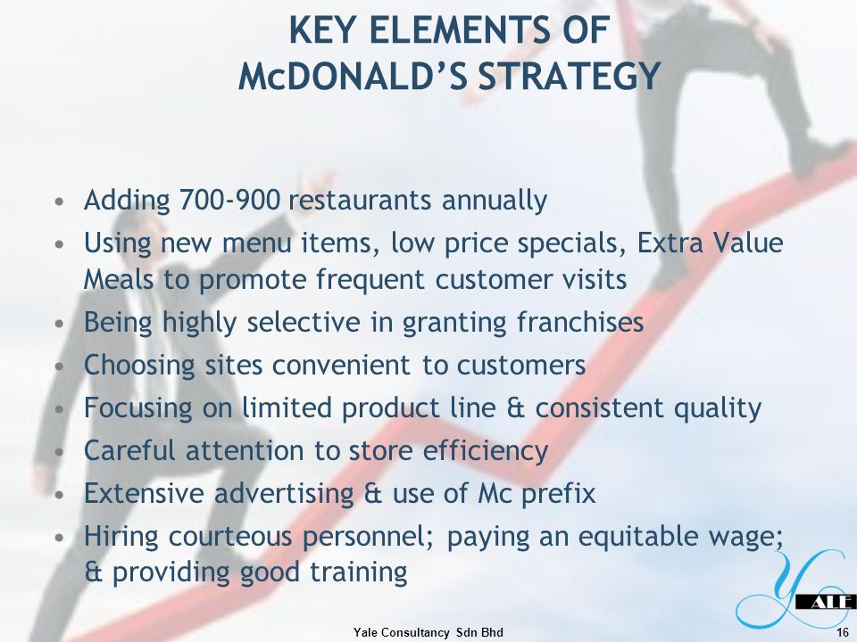 KEY ELEMENTS OF McDONALD'S STRATEGY