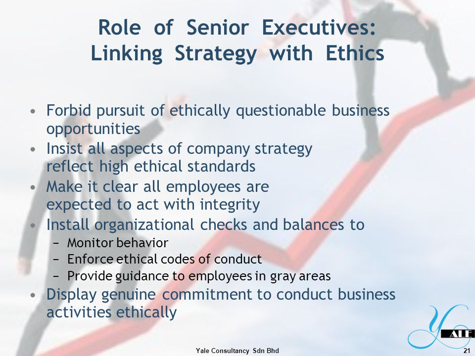 Role of Senior Executives: Linking Strategy with Ethics