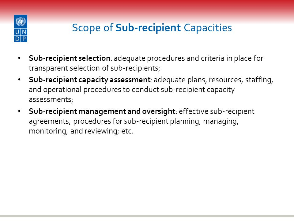 Scope of Sub-recipient Capacities