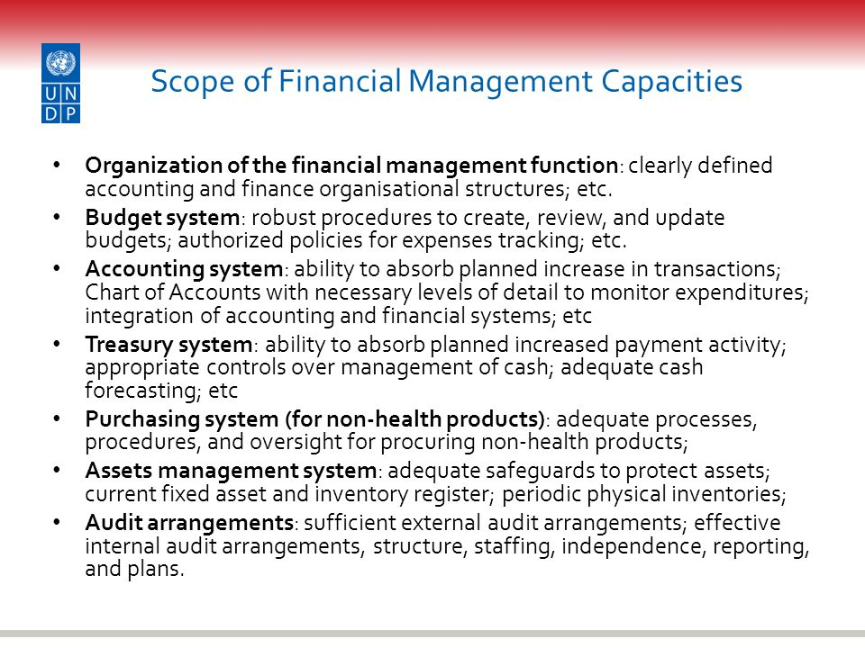 Scope of Financial Management Capacities