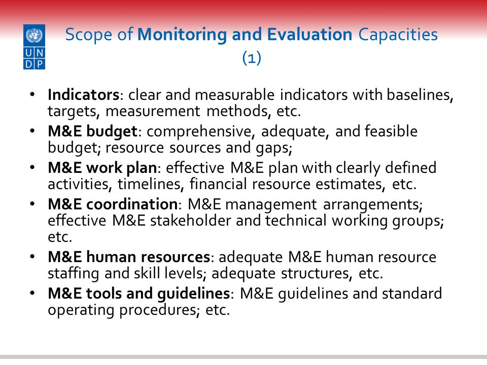 Scope of Monitoring and Evaluation Capacities (1)