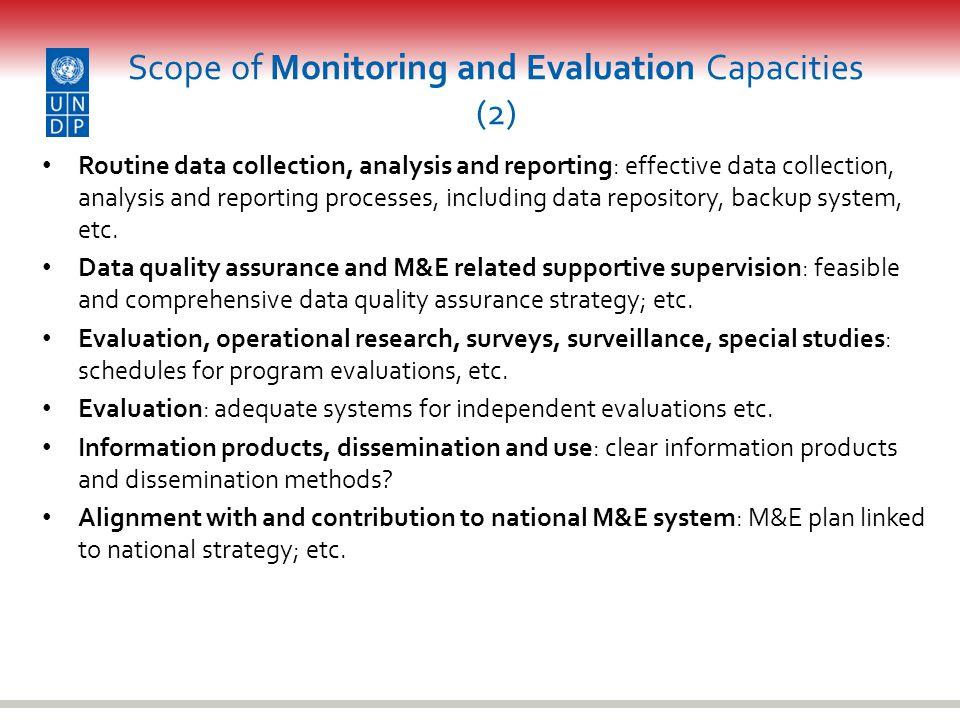 Scope of Monitoring and Evaluation Capacities (2)