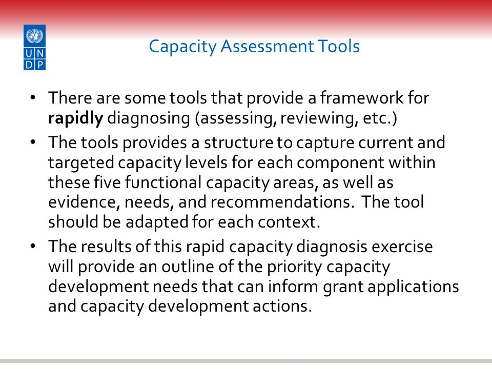 Capacity Assessment Tools