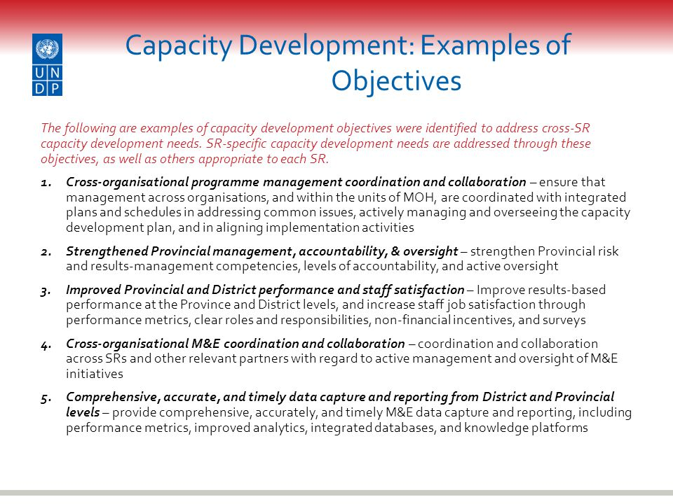 Capacity Development: Examples of Objectives