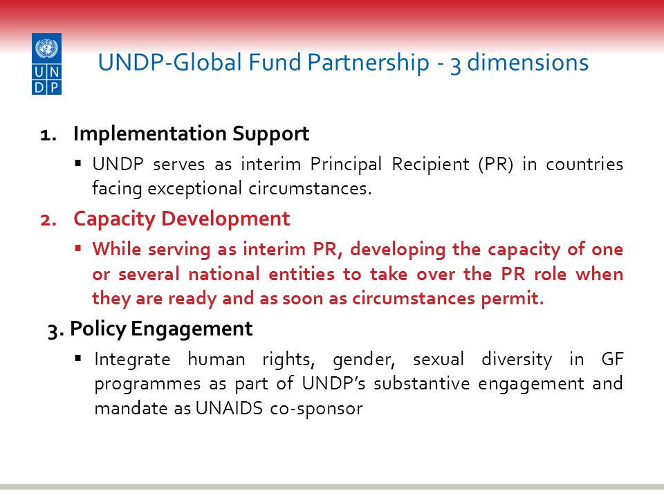 UNDP-Global Fund Partnership - 3 dimensions