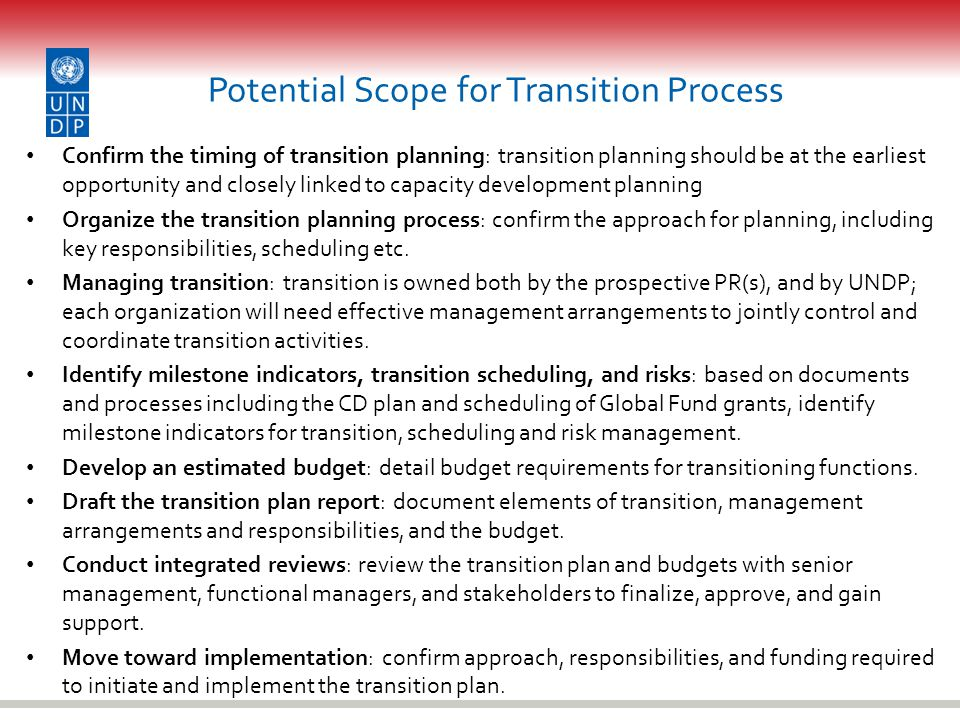 Potential Scope for Transition Process