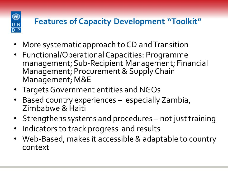 Features of Capacity Development Toolkit