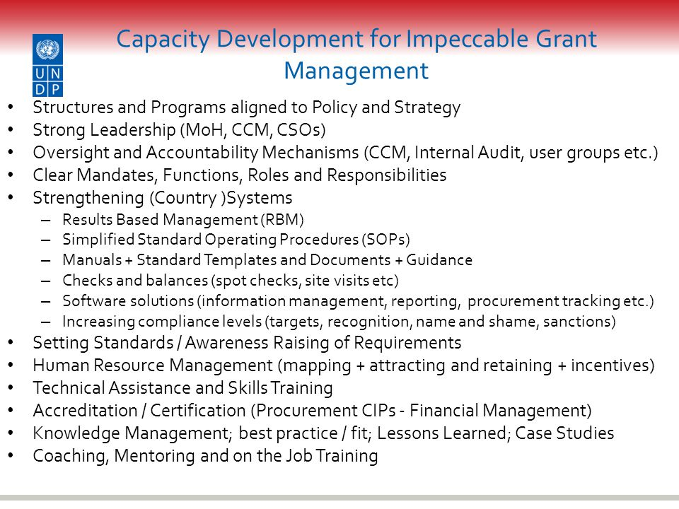 Capacity Development for Impeccable Grant Management