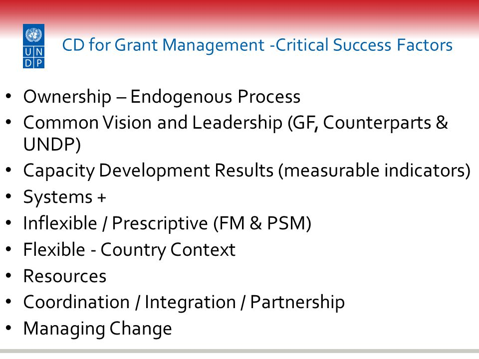 CD for Grant Management -Critical Success Factors