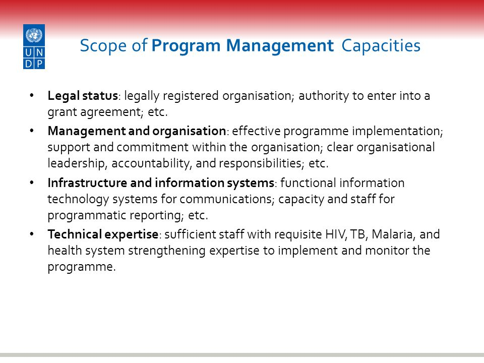 Scope of Program Management Capacities