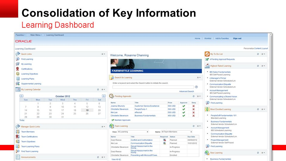 Consolidation of Key Information