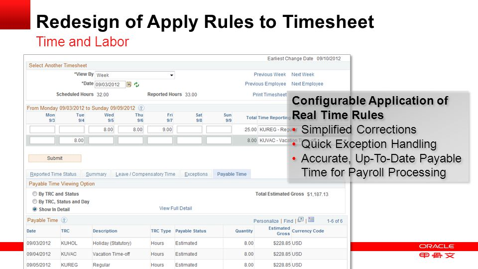 Redesign of Apply Rules to Timesheet