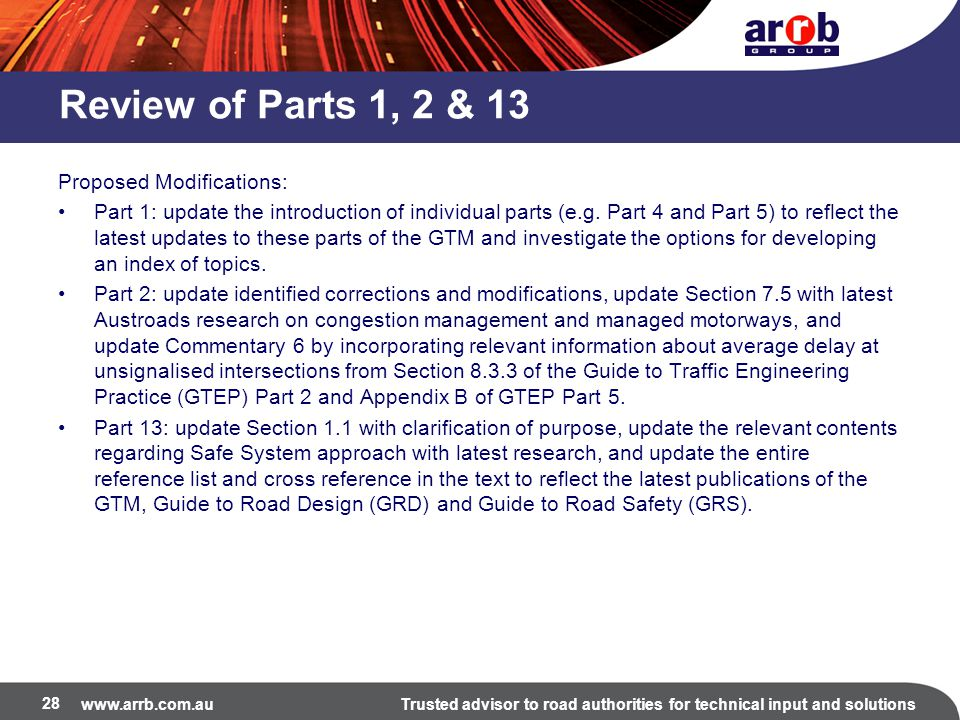 Review of Parts 1, 2 & 13 Proposed Modifications: