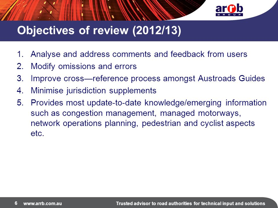 Objectives of review (2012/13)