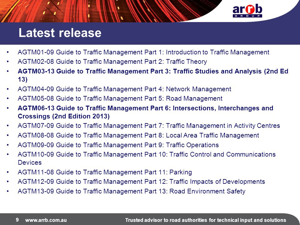 Latest release AGTM01-09 Guide to Traffic Management Part 1: Introduction to Traffic Management.