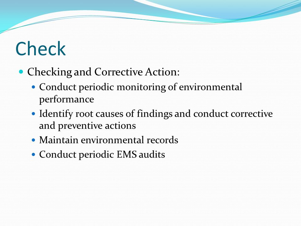 Check Checking and Corrective Action: