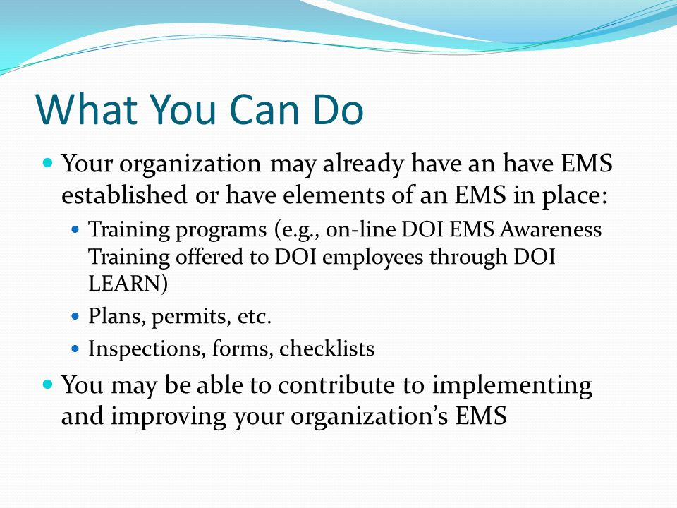What You Can Do Your organization may already have an have EMS established or have elements of an EMS in place: