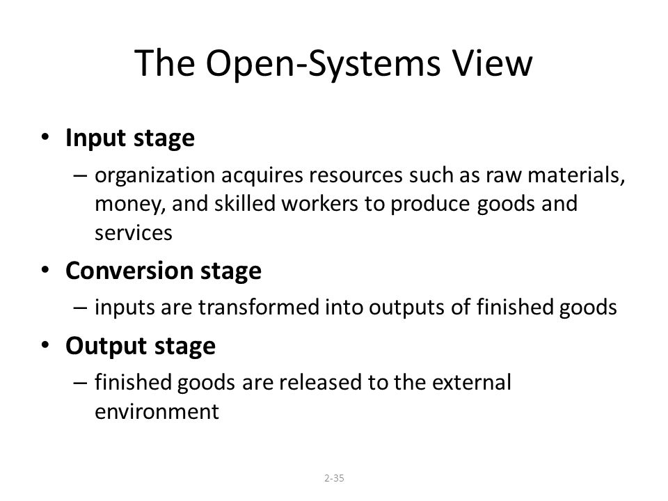 The Open-Systems View Input stage Conversion stage Output stage