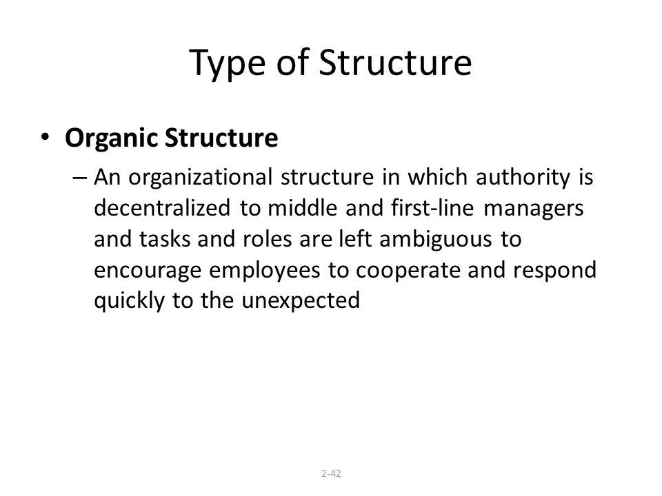 Type of Structure Organic Structure