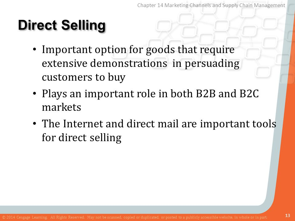 Direct Selling Important option for goods that require extensive demonstrations in persuading customers to buy.