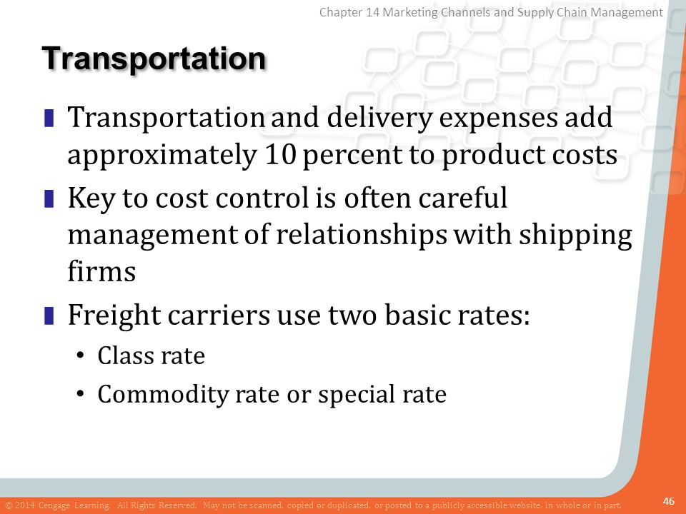 Transportation Transportation and delivery expenses add approximately 10 percent to product costs.