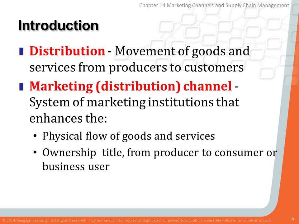 Introduction Distribution - Movement of goods and services from producers to customers.
