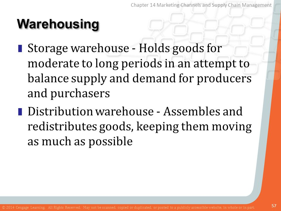 Warehousing Storage warehouse - Holds goods for moderate to long periods in an attempt to balance supply and demand for producers and purchasers.